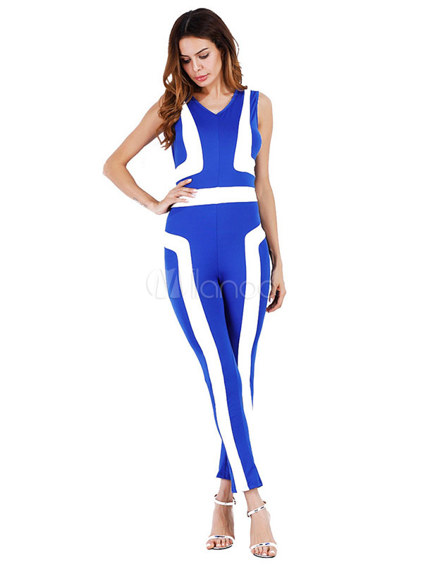 Buy Blue Summer Jumpsuit V Neck Sleeveless Two Tone Skinny Leg Women's Long Jumpsuit for $28.49 in Milanoo store