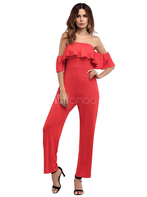 Buy Red Summer Jumpsuit Strapless Half Sleeve Ruffles Backless Straight Leg Women's Long Jumpsuit for $23.74 in Milanoo store