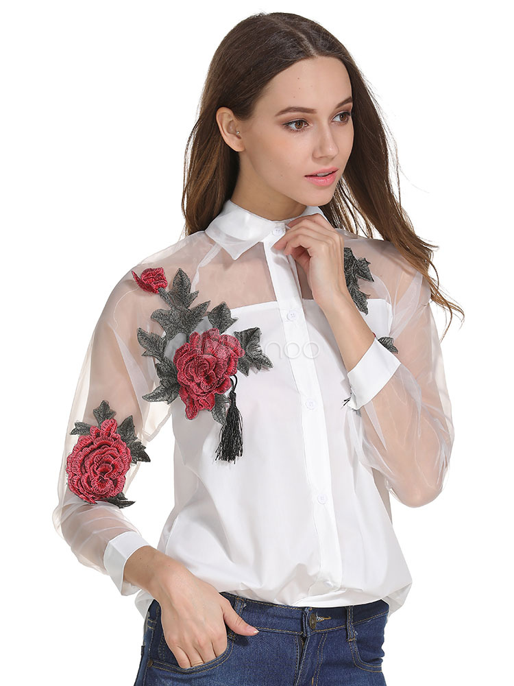 Buy White Women's Blouses Turndown Collar Long Sleeve Peony Embroidered Semi Sheer Casual Top for $23.74 in Milanoo store