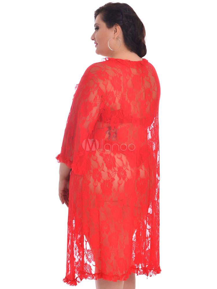 3243c13e37 ... Plus Size Cover Ups Black Lace Semi Sheer 3/4 Length Sleeve Ruffles  Women's Long
