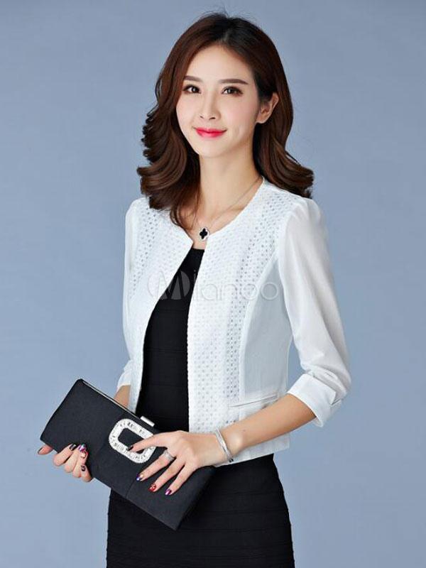 f08265c2a61c8 Blazer Americanas mujer con escote redondo Color liso estilo moderno-No.1  ...