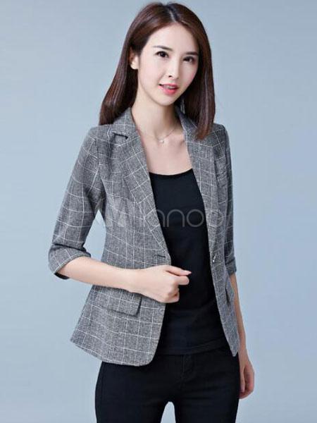 ff578e5420c3f ... Americanas mujer de algodón mezclado blazer de cuello vuelto con dibujo  de cuadros con bolsillos estilo ...