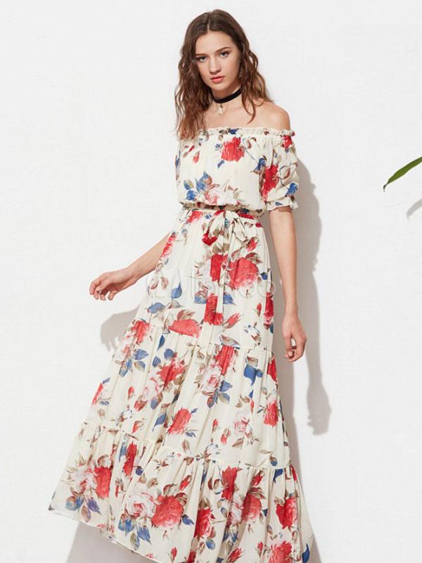 3ee8ce4a592 Vestido largo de chifón rojo con escote de hombros caídos con estampado de  flores con faja ...