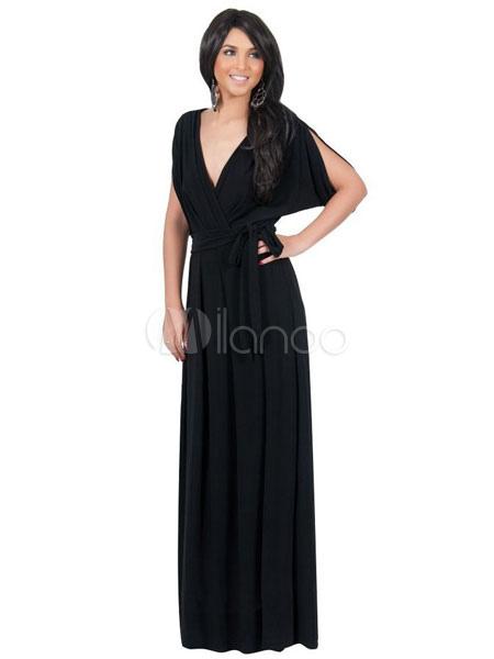 robe longue en spandex unicolore fendu avec ceinture col v. Black Bedroom Furniture Sets. Home Design Ideas