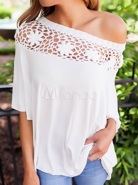 White Women's Blouses Lace One Shoulder Half Sleeve Round Neck Top
