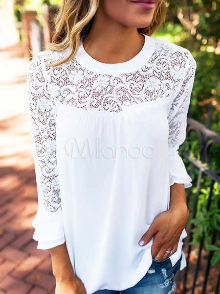 Buy White Women's Blouses Lace Sheer Chiffon Bell Sleeve Round Neck Top for $14.69 in Milanoo store
