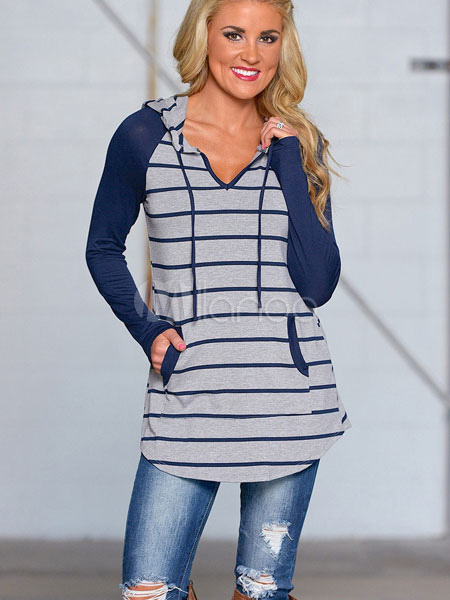 Blue Women Hoodie Long Sleeve Striped Cotton Sweatshirts With Pocket