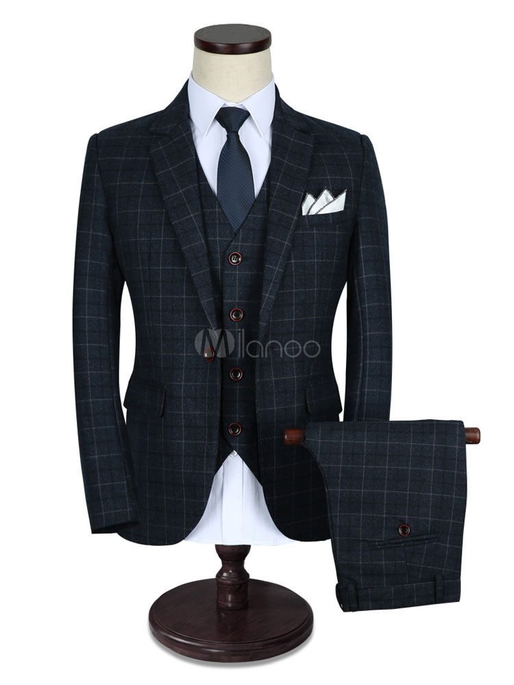 Men's Wedding Suit Grey Lapel Collar Long Sleeve Plaid Tuxedo Suit In 3 Pcs