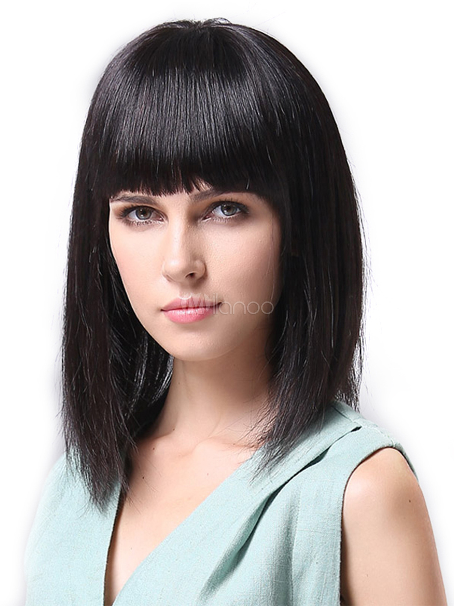 Buy Human Hair Wig Blunt Fringe Long Straight Black Women Hair Wig for $68.99 in Milanoo store