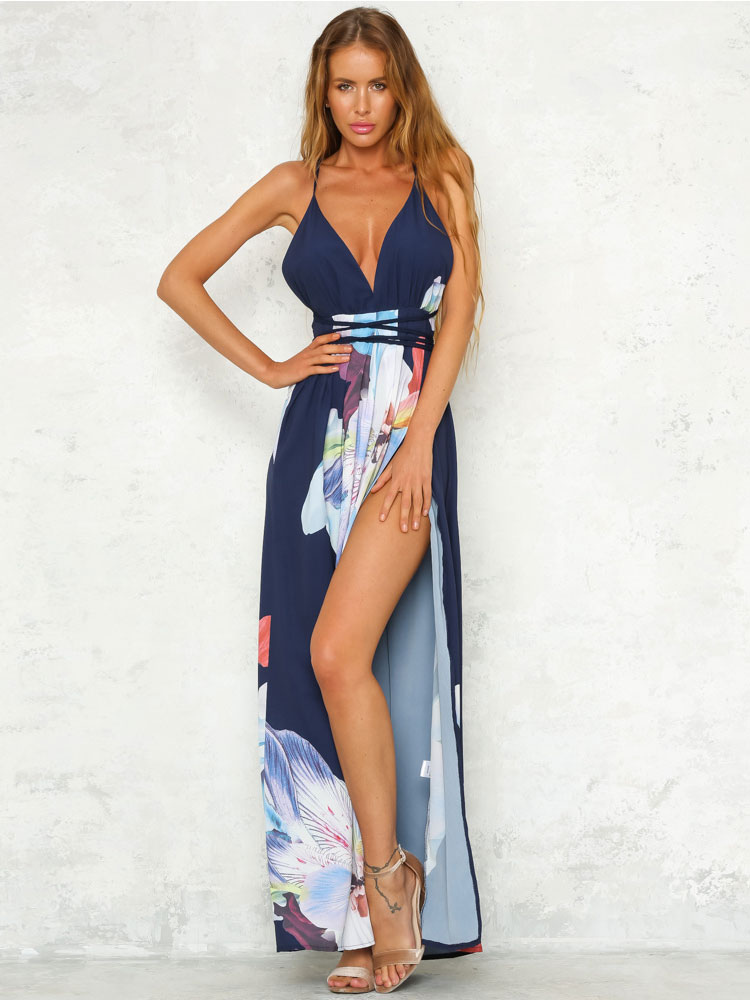 Buy Boho Maxi Dress Plunging Neckline Floral Print Backless High Slit Women's Deep Blue Long Dress for $23.99 in Milanoo store