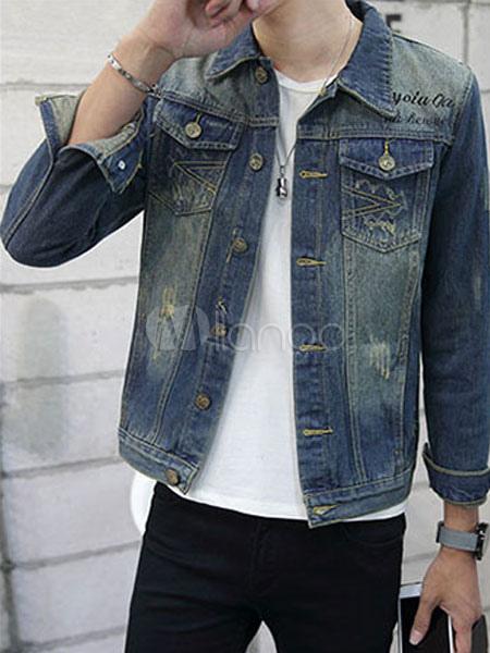 Buy Men's Denim Jacket Light Blue Turndown Collar Long Sleeve Distressed Short Jacket for $33.24 in Milanoo store