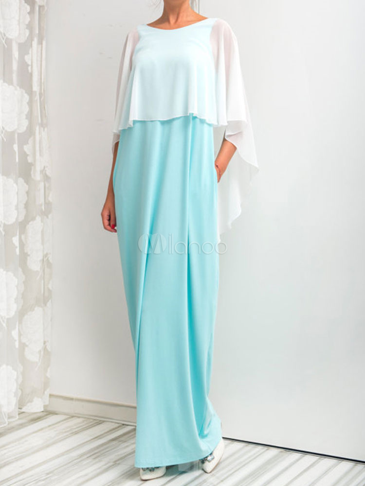 Buy Summer Maxi Dress Light Blue Round Neck Half Sleeve Chiffon Layered Backless Two Tone Women's Long Dresses for $23.74 in Milanoo store