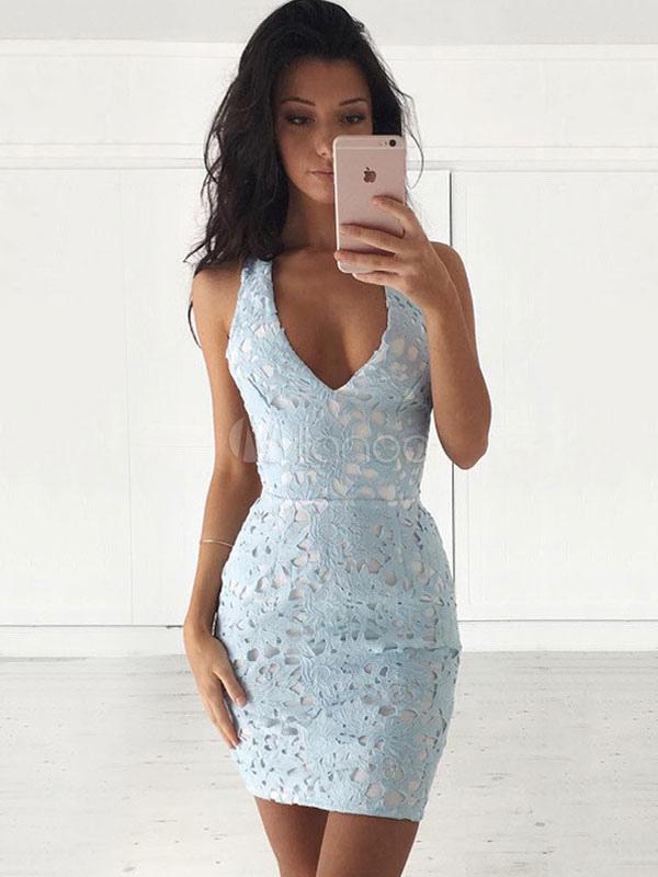 MILANOO. SUMMER LACE DRESS LIGHT SKY BLUE V NECK SLEEVELESS BACKLESS WOMEN S  BODYCON DRESSES 91e888b05c