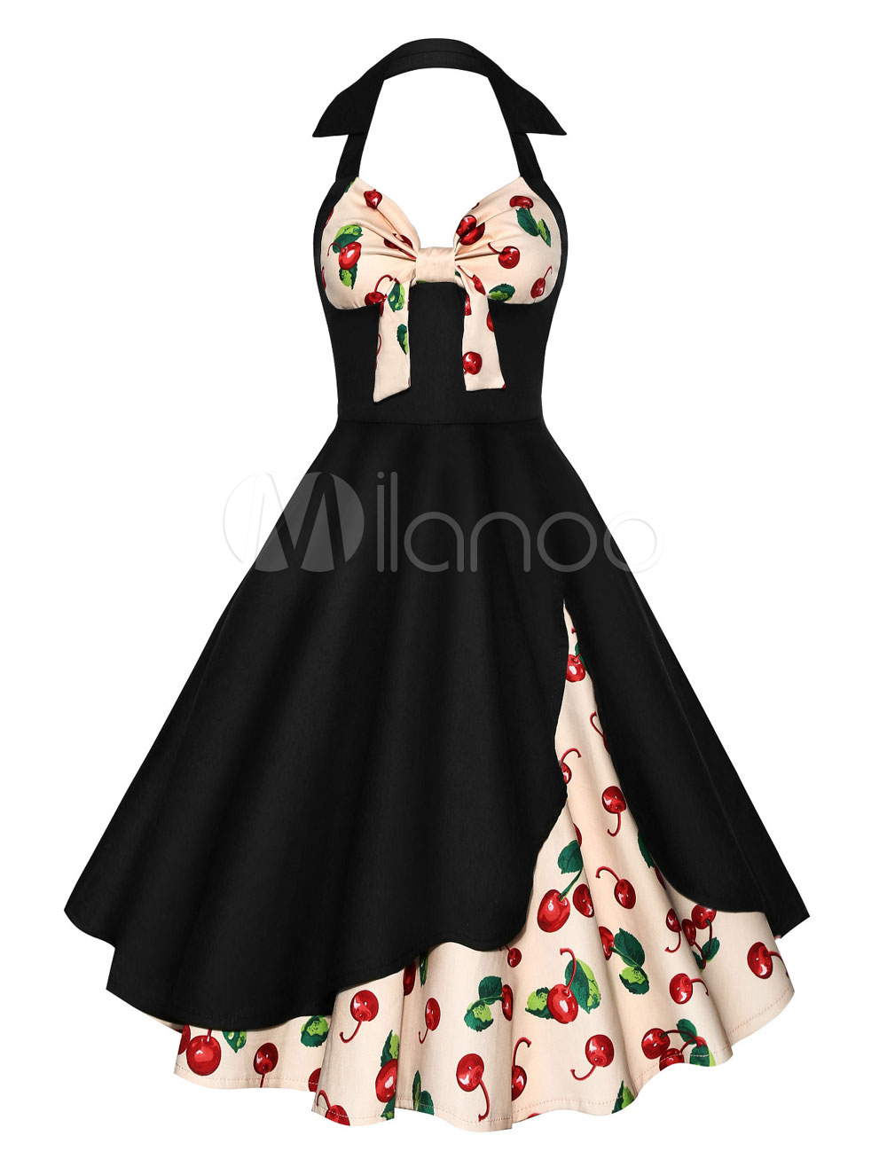 Buy Black Vintage Dress Halter Sleeveless Knotted Floral Print Layered Women's Dresses for $33.24 in Milanoo store