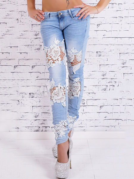 Women's Skinny Jeans Light Blue Lace Patchwork Ripped Jeans Cheap clothes, free shipping worldwide