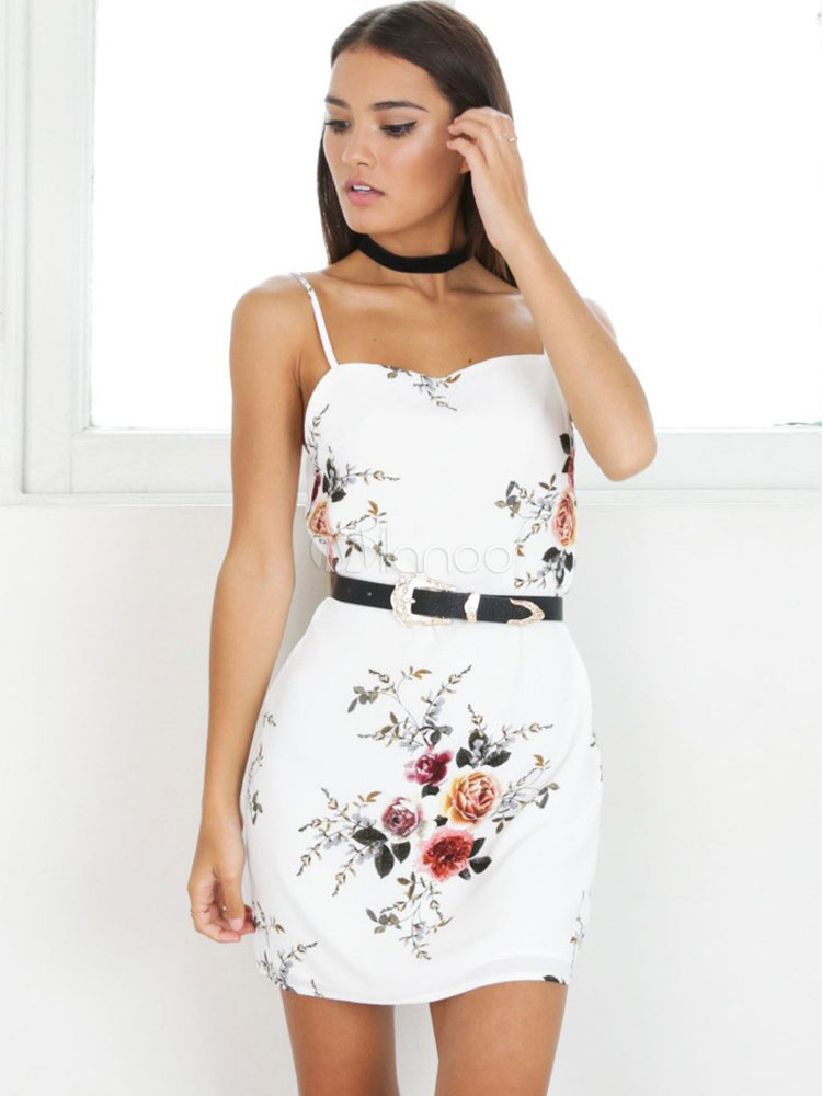 Buy White Bodycon Dress Sleeveless Floral Print Backless Women's Short Dresses for $18.99 in Milanoo store