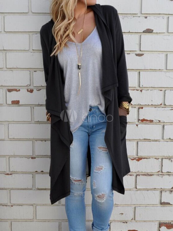 Black Casual Cardigans Long Sleeve Split Women's Waterfall Cardigan