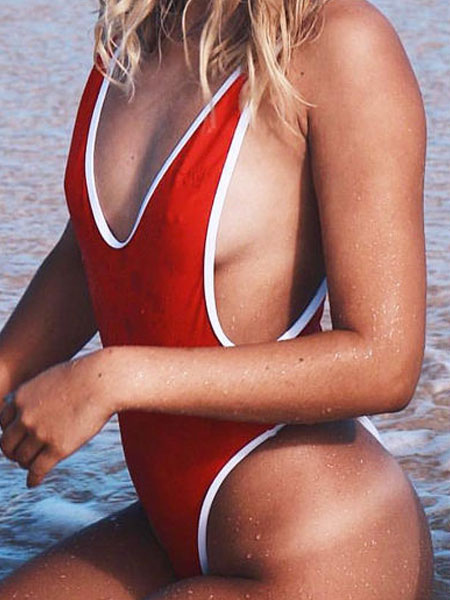 cb0e587493cad ... White Bathing Suits Plunging Neck Sleeveless Two Tone Backless One  Piece Swimsuit For Women-No ...