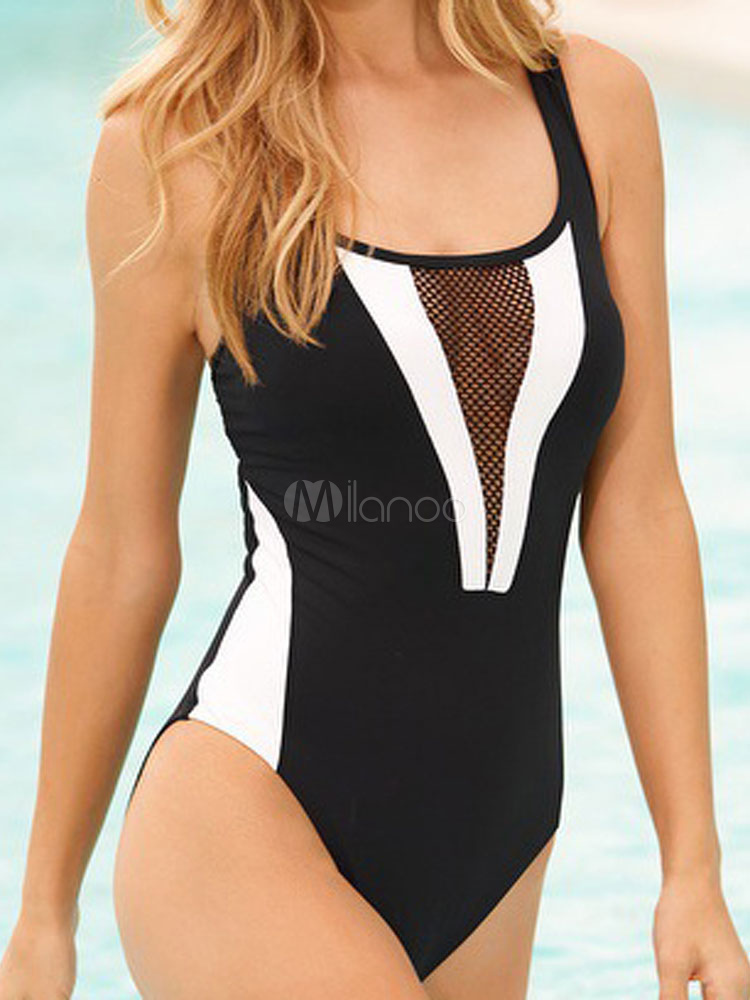 Buy Black Bathing Suits U Neck Sleeveless Two Tone Cut Out Backless One Piece Swimsuit For Women for $18.99 in Milanoo store