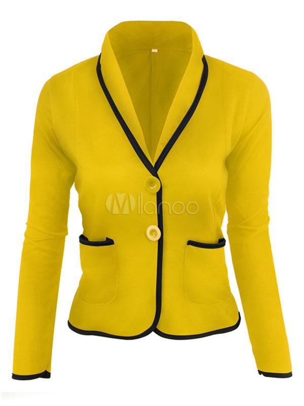 Milanoo / Women's Blazer Jacket Light Grey Turndown Collar Long Sleeve Two Tone Casual Blazer