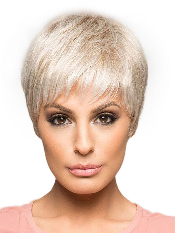Human Hair Wigs Women's Ivory Straight Layered Boycuts Short Hair Wigs With Bangs