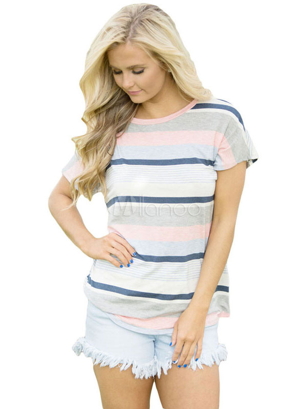 Buy Blue T Shirt Round Neck Short Sleeve Striped Women's Casual Top for $14.39 in Milanoo store