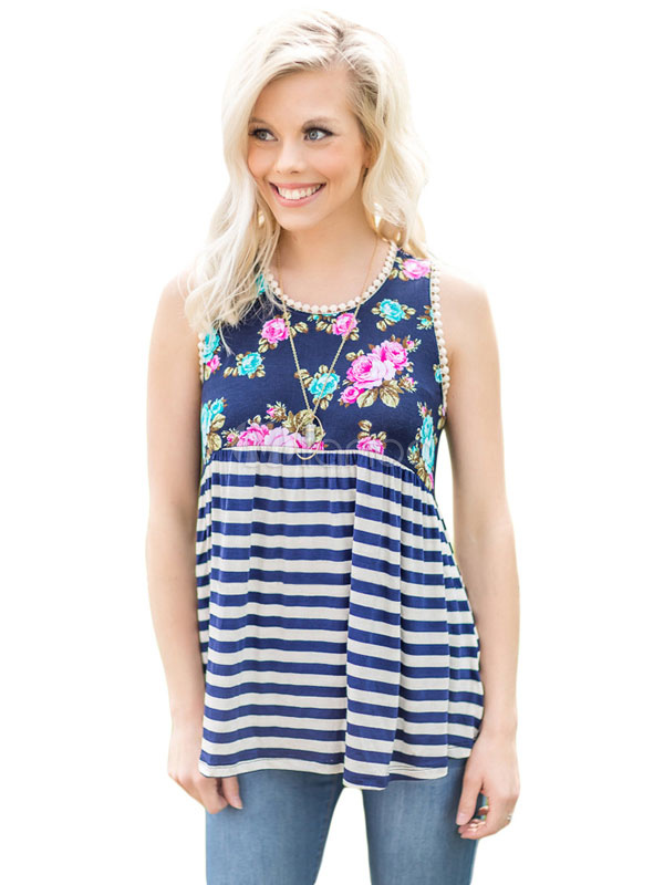 Buy Casual Tank Top Dark Navy Round Neck Sleeveless Striped Floral Print Draped Women's Top for $18.99 in Milanoo store