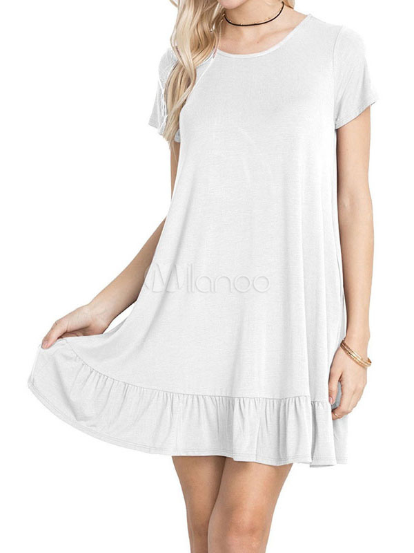 Buy White Shift Dress Round Neck Short Sleeve Ruffles Women's Summer Dresses for $18.99 in Milanoo store