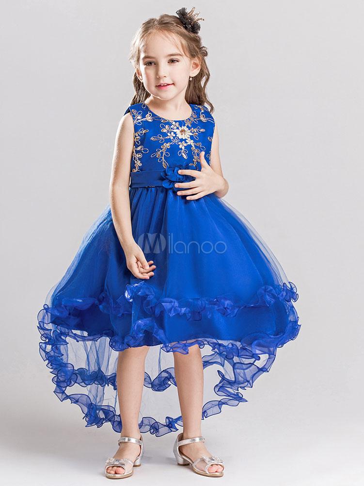Flower Girl Dresses Blue Kids Pageant Dresses Applique High Low Princess Social Party Dresses
