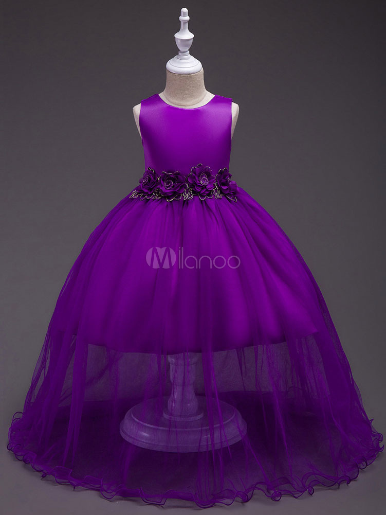 Flower Girl Dresses Purple Tulle Pageant Dress Floor Length Kids Party Dresses
