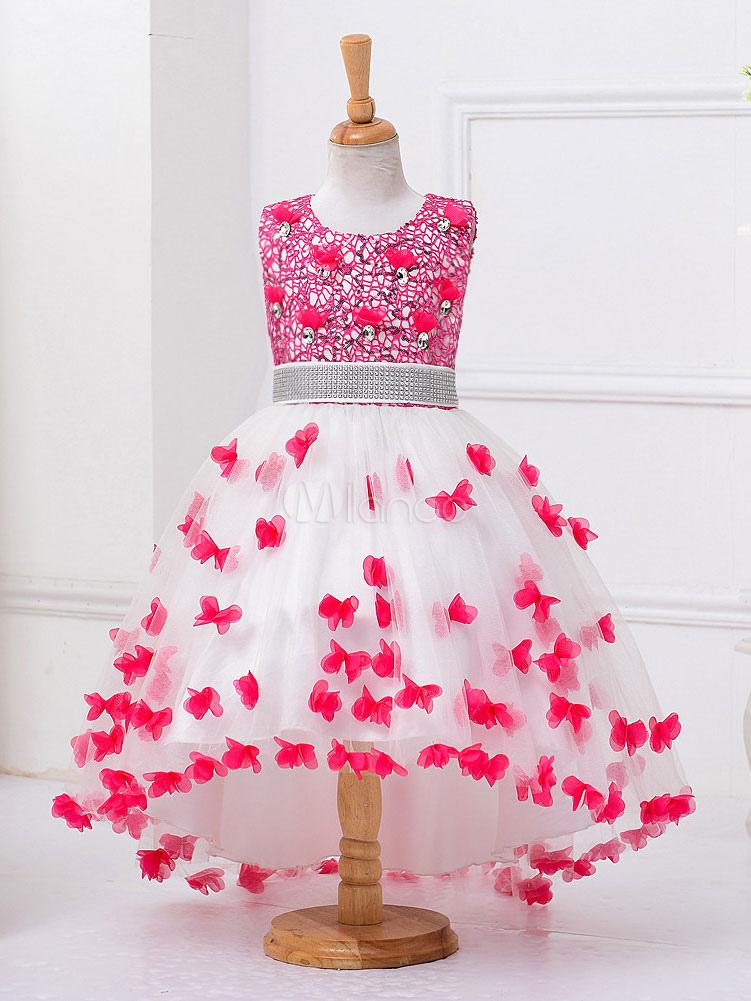 Kids Pageant Dresses Rose Tutu Princess Flower Girl Dresses Sequin Beading Social Party Dresses With Train