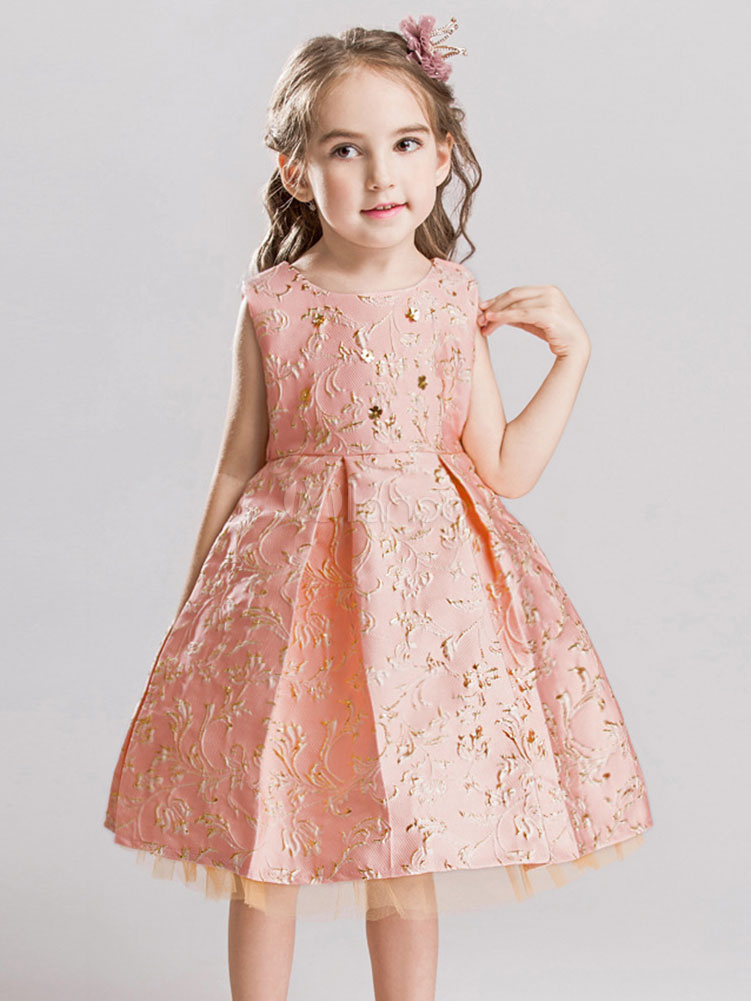 d6137faf03c Flower Girl Dresses Blush Pink Jacquard Knee Length Pleated Kids Pageant  Party Dresses-No.