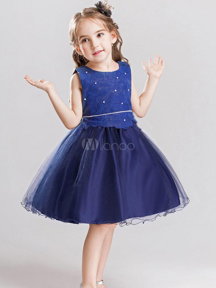 Dinner Party Dress Part - 40: Tutu Flower Girl Dresses Blue Rhinestones Beaded Bows Knee Length Kids Dinner  Party Dresses-No ...
