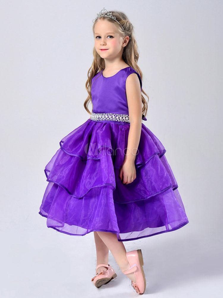 Vestido para las niñas de flores con escote redondo con lazo sin ...