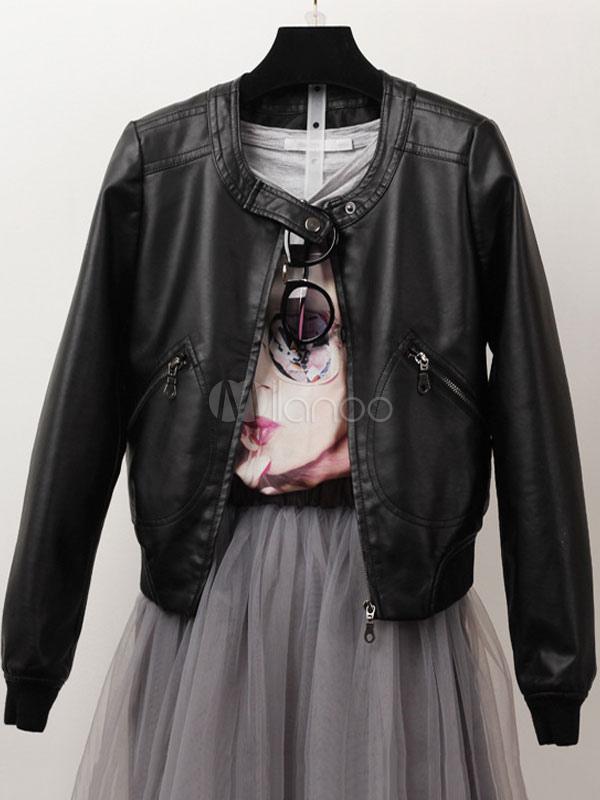 Buy Women's Moto Jacket Black Crewneck Long Sleeve PU Punk Leather Jacket for $28.49 in Milanoo store