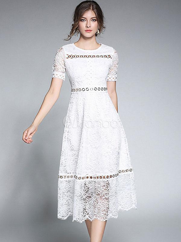 5d6e119e59d Белое кружевное платье с круглой шейкой с короткими рукавами ...