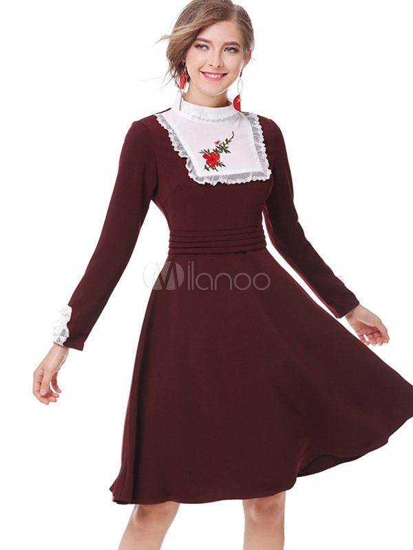 42d15daf2e Burgundy Skater Dress Stand Collar Long Sleeve Embroidered Slim Fit Flare  Dress-No.1 ...