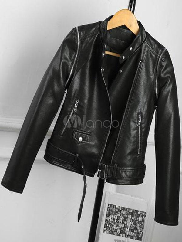 Colletto Moto Pelle Da Con Monocolore Tasche Giacche Zip Ragazzo UzMVLSGqp