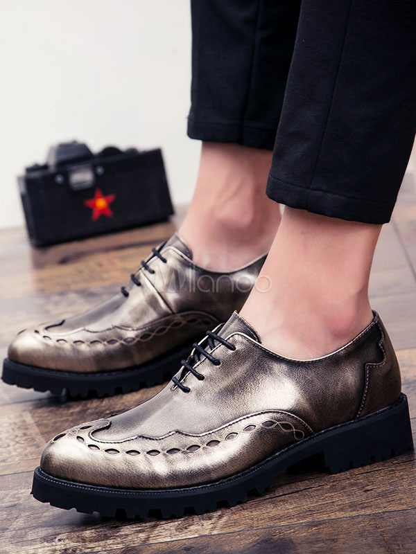 51cfd566a Black Dress Shoes Men s Bronze Pointed Toe Lace Up Flat Shoes ...