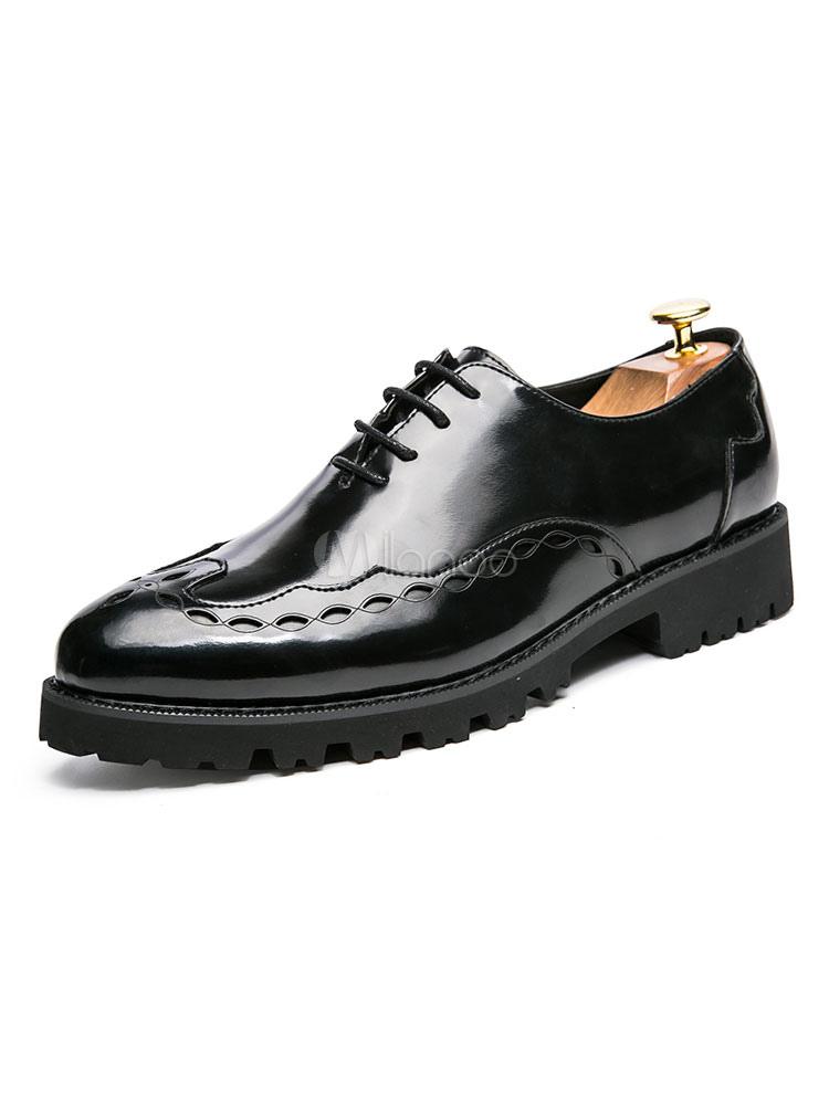 Zapatos de vestir de tacón gordo de puntera puntiaguada de PU Color liso con cordones estilo modernopara hombre Verano Okmnx3k