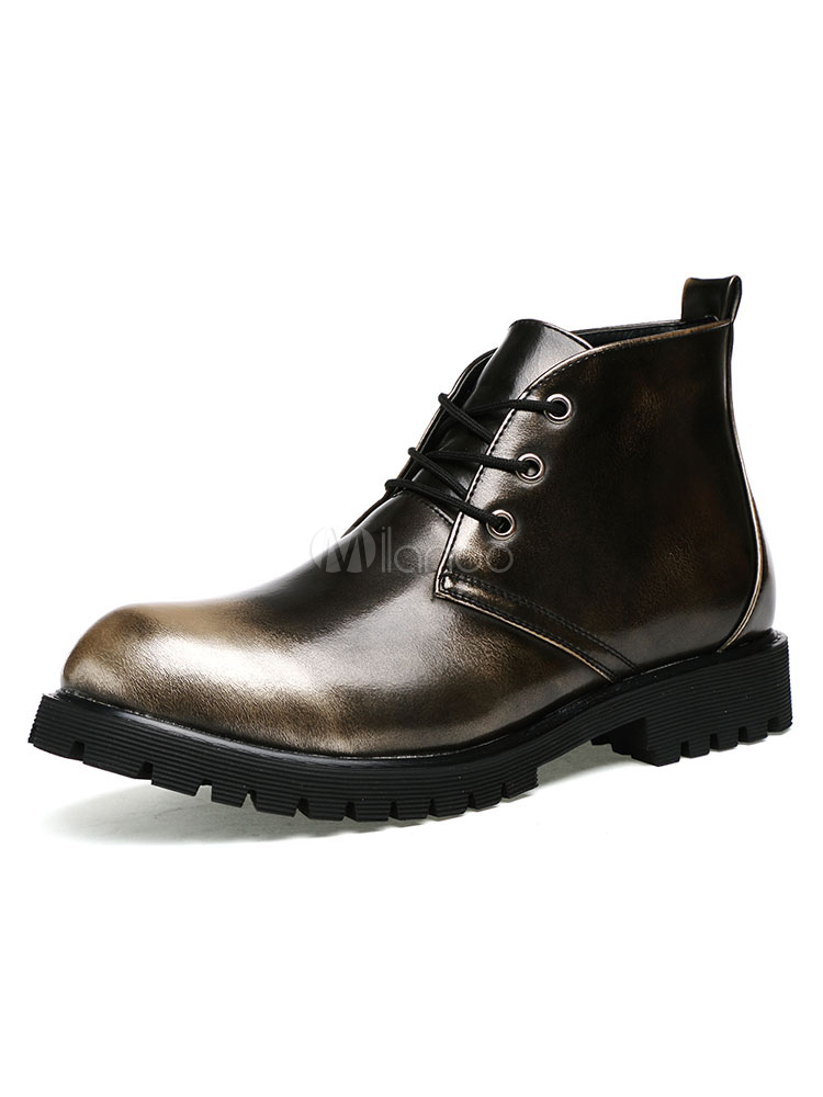 Bronze Martin Boots Men's Round Toe Lace Up Ankle Boots