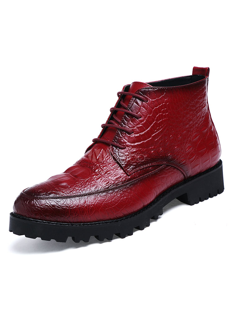 Burgundy Men's Boots Round Toe Lace Up Ankle Boots