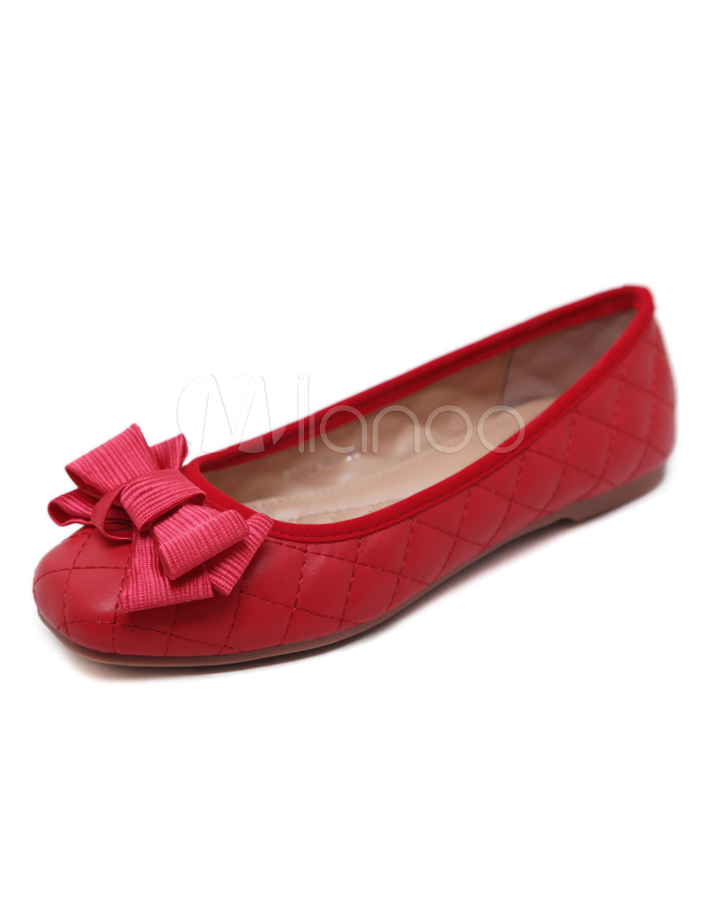 Red Ballet Flats Bows PU Square Toe Slip On Flat Shoes For Women