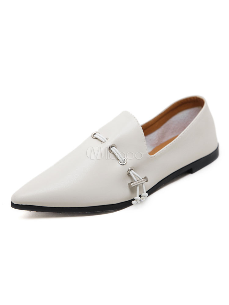 Women's Ballet Flats Ecru White Pointed Toe PU Slip On Flat Shoes