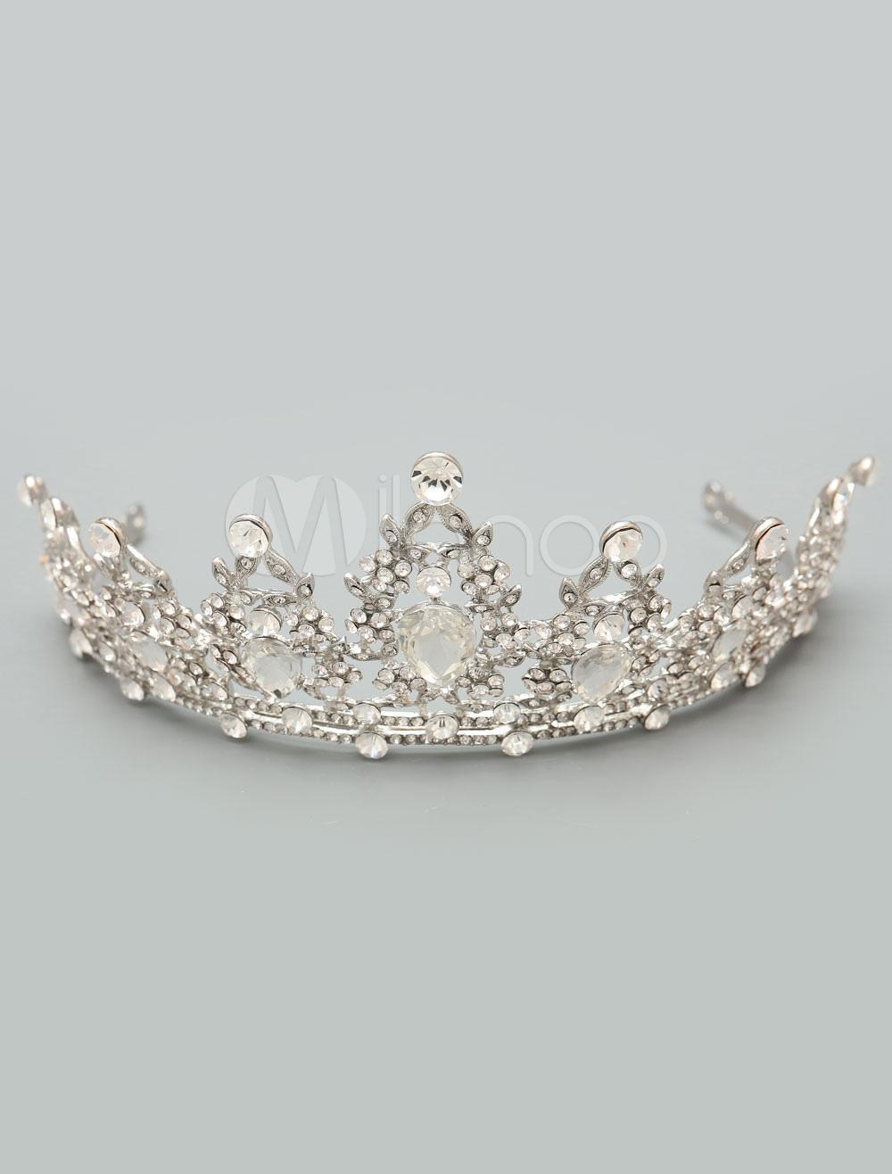 Buy Wedding Tiara Crown Silver Headpieces Rhinestones Bridal Hair Accessories for $30.68 in Milanoo store