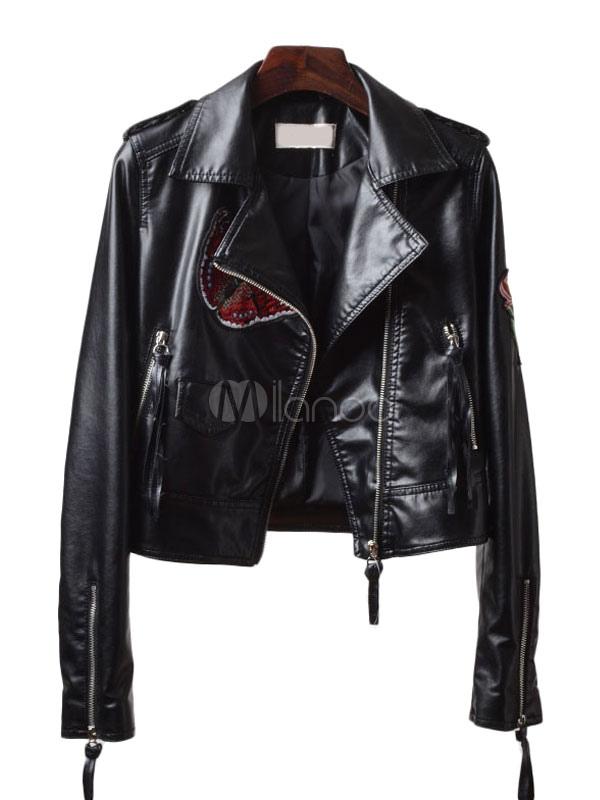 Buy Black Moto Jacket Turndown Collar Long Sleeve Embroidered Women's Boyfriend Jacket for $37.99 in Milanoo store