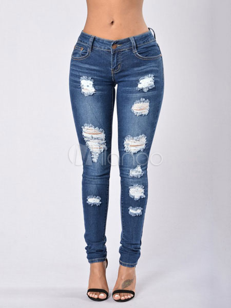Blue Denim Jeans Women's Ripped Skinny Long Jeans Cheap clothes, free shipping worldwide