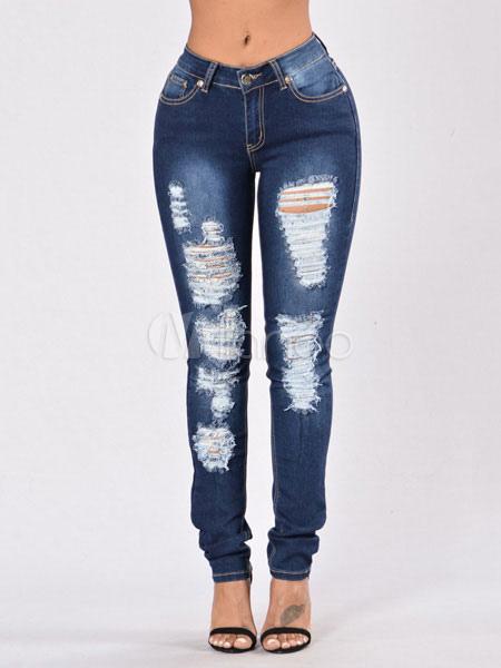 Beau jean femme Slim en denim bleu unicolore à taille naturelle creusé-No.1  ... 759fe8b14029