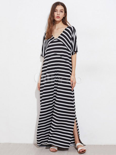 45636ee5e50 Black Maxi Dress V Neck Half Sleeve Striped Split Oversized Women s Long ...