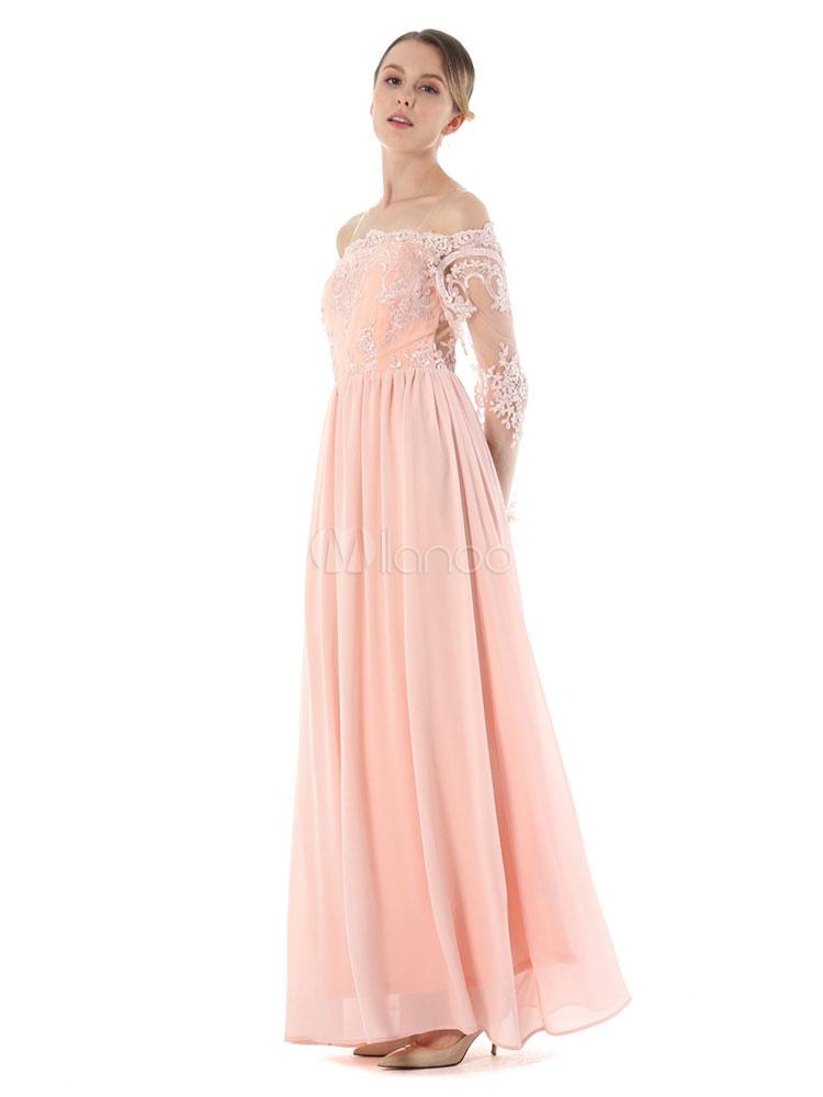 Vestido largo con escote de hombros caídos Color liso de encaje con ...